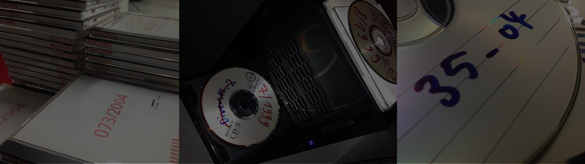 Früher wurden die CDs von einem ganzen Jahr manuell eingelesen und abgelegt. Hier beim Einlesen von DVDs im Jahr 2004.